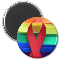 AIDS awareness red ribbon on gay flag Magnet