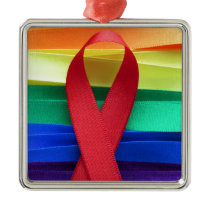 AIDS awareness red ribbon on gay flag Metal Ornament