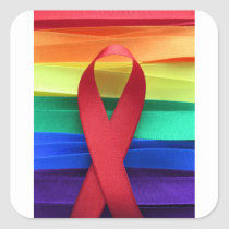 AIDS awareness red ribbon on gay flag Square Sticker