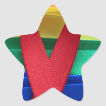 AIDS awareness red ribbon on gay flag Star Sticker