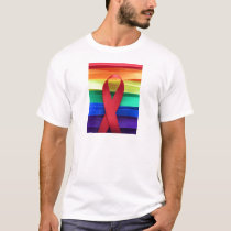 AIDS awareness red ribbon on gay flag T-Shirt