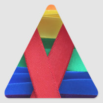 AIDS awareness red ribbon on gay flag Triangle Sticker