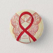 AIDS Awareness Ribbon Angel Custom Art Pin