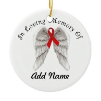 AIDS Awareness Ribbon Christmas Ornament In Memory
