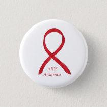 AIDS Awareness Ribbon Custom Art Pin