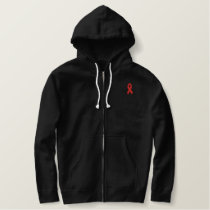 Aids Awareness Ribbon Embroidered Hoodie
