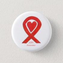 AIDS Awareness Ribbon Heart Custom Art Pin