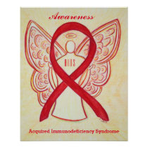 AIDS Awareness Ribbon Red Angel Custom Art Posters