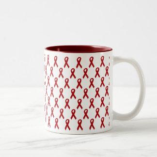 AIDS Awareness Ribbon Two-Tone Coffee Mug