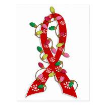 AIDS Christmas Lights Ribbon Postcard