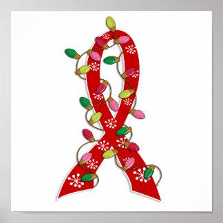 AIDS Christmas Lights Ribbon Print