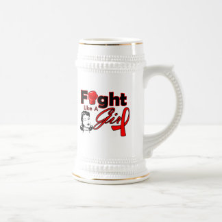 AIDS Fight Like A Girl - Retro Girl 18 Oz Beer Stein
