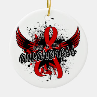 AIDS HIV Awareness 16 Double-Sided Ceramic Round Christmas Ornament
