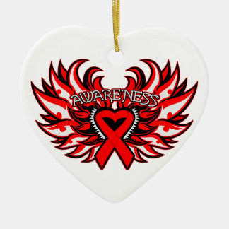 AIDS HIV Awareness Heart Wings Double-Sided Heart Ceramic Christmas Ornament