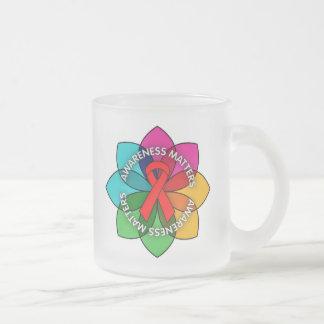 AIDS HIV Awareness Matters Petals 10 Oz Frosted Glass Coffee Mug