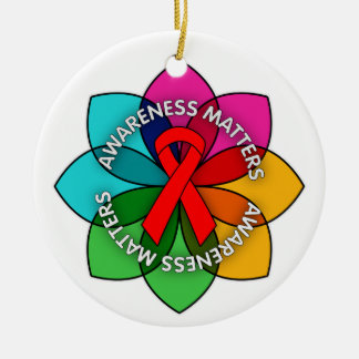 AIDS HIV Awareness Matters Petals Double-Sided Ceramic Round Christmas Ornament