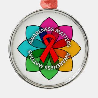 AIDS HIV Awareness Matters Petals Round Metal Christmas Ornament