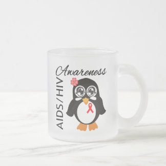 AIDS HIV Awareness Penguin 10 Oz Frosted Glass Coffee Mug