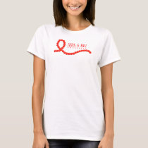 AIDS & HIV Awareness Red Ribbon Beads T-Shirt