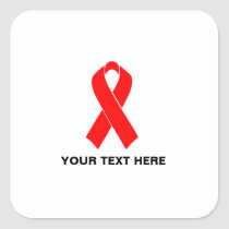 AIDS HIV Awareness Red Ribbon Square Sticker