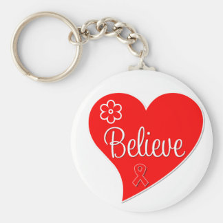 AIDS HIV Believe Red Heart Key Chains