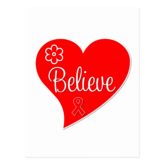 AIDS HIV Believe Red Heart Postcard
