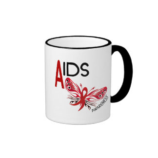 AIDS / HIV Butterfly 3 Awareness Ringer Coffee Mug