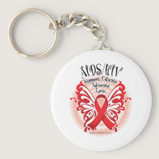 AIDS/HIV Butterfly 3 Keychain