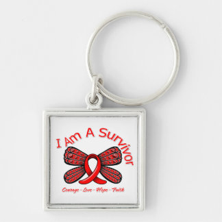 AIDS HIV Butterfly I Am A Survivor Keychain