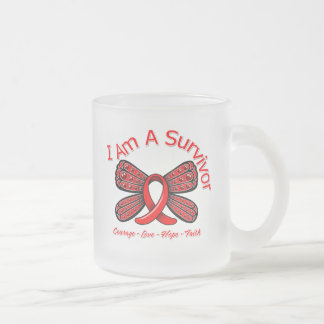 AIDS HIV Butterfly I Am A Survivor 10 Oz Frosted Glass Coffee Mug