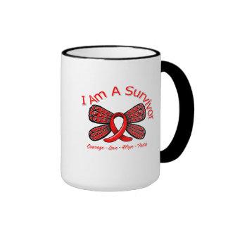AIDS HIV Butterfly I Am A Survivor Ringer Coffee Mug
