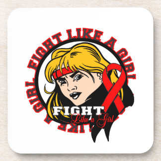 AIDS HIV Fight Like A Girl Attitude Beverage Coasters