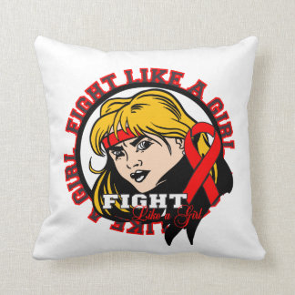 AIDS HIV Fight Like A Girl Attitude Pillow
