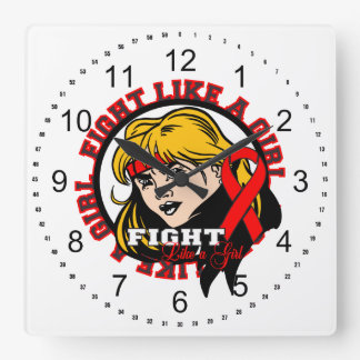 AIDS HIV Fight Like A Girl Attitude Wall Clock
