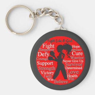 AIDS HIV Fight Like A Girl Collage Keychains