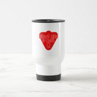 AIDS HIV Fight Like A Girl Glove 15 Oz Stainless Steel Travel Mug