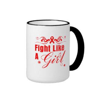 AIDS HIV Fight Like A Girl Ornate Ringer Coffee Mug