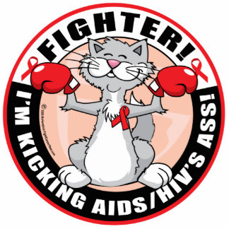AIDS/HIV Fighter Cat Acrylic Cut Out