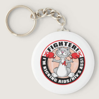 AIDS/HIV Fighter Cat Keychain