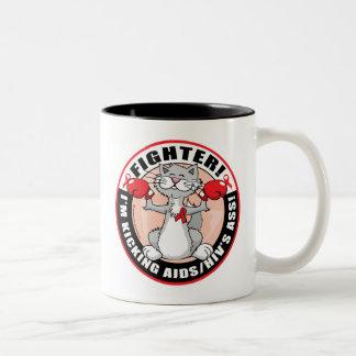 AIDS/HIV Fighter Cat Two-Tone Coffee Mug