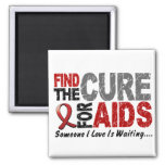 AIDS / HIV Find The Cure 1 2 Inch Square Magnet