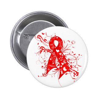AIDS HIV Floral Swirls Ribbon Pinback Button