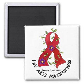 AIDS HIV Flower Ribbon 1 Refrigerator Magnets