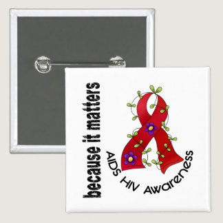 AIDS HIV Flower Ribbon 3 Button