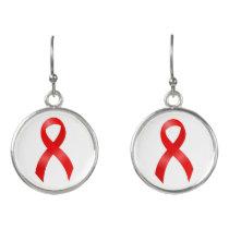 AIDS & HIV   Heart Disease & Stroke - Red Ribbon Earrings
