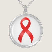AIDS & HIV | Heart Disease & Stroke - Red Ribbon Silver Plated Necklace