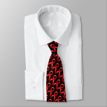 Valentines Themed AIDS & HIV   Heart Disease & Stroke - Red Ribbon Tie