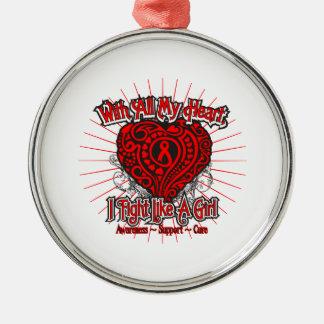 AIDS HIV Heart I Fight Like A Girl Round Metal Christmas Ornament