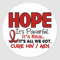 AIDS HIV HOPE 1 CLASSIC ROUND STICKER