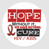 AIDS HIV HOPE 2 CLASSIC ROUND STICKER